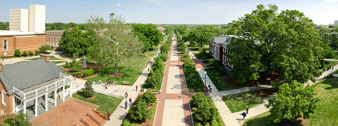 UNCG photo by David Wilson - Aerial photo of College Avenue on the UNCG campus.