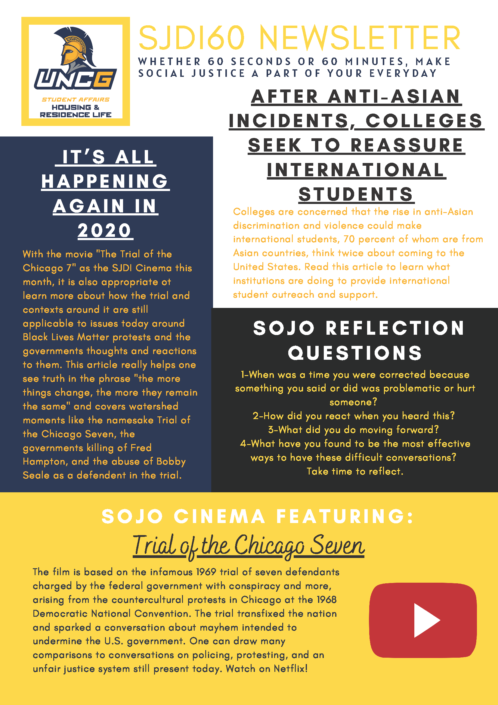 Uncg Spring 2022 Calendar.Sjdi Newsletters Housing And Residence Life At Uncg