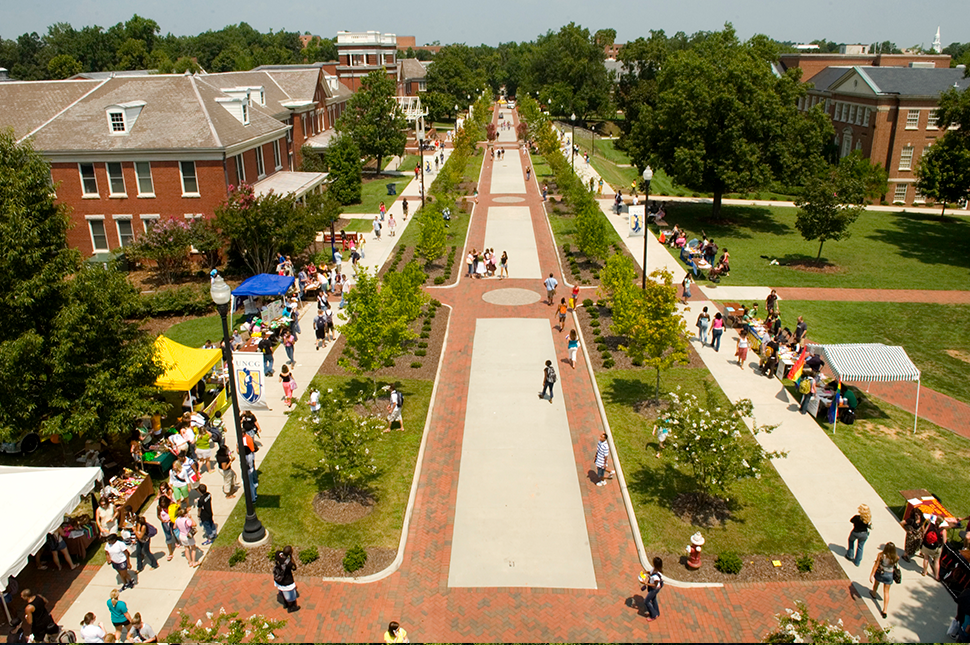 An aerial view of College Ave.