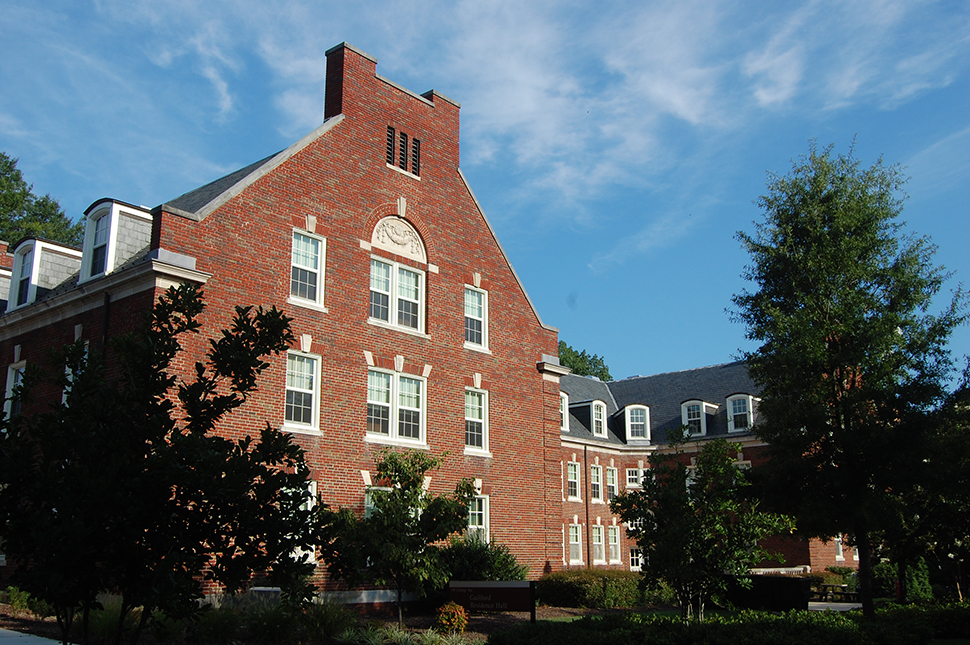 The outside of Guilford Residence Hall