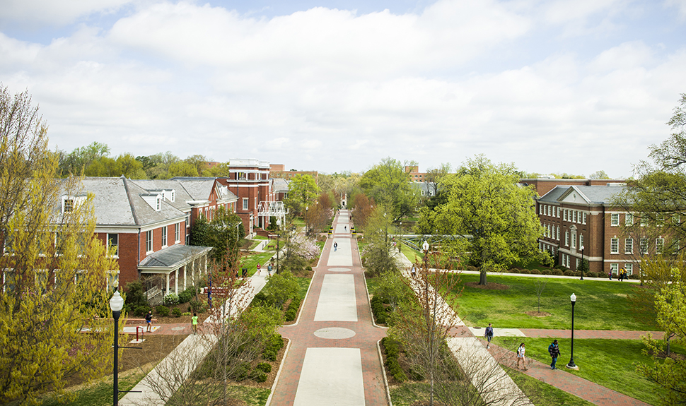 College Avenue photographed from above (David Wilson/UNCG photo)